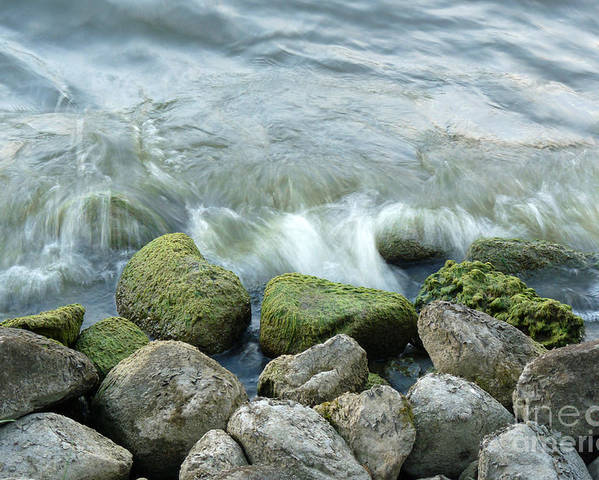 Illinois Poster featuring the photograph Waves On Mossy Rocks 2 by Deborah Smolinske