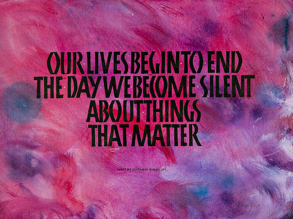 Calligraphy Poster featuring the mixed media We Become Silent by Elissa Barr