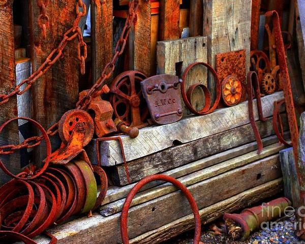 Tools Poster featuring the photograph Weathered Rims And Chains by Marcia Lee Jones