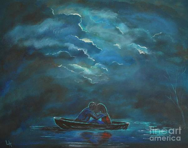 Couple Painting Poster featuring the painting Weathering The Storm by Leslie Allen