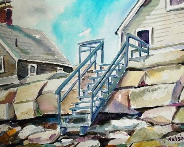 Wells Beach Poster featuring the painting Wells Beach Beach Stairs by Scott Nelson