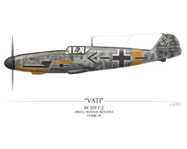 Aviation Poster featuring the painting Werner Molders Messerschmitt Bf-109 - White Background by Craig Tinder