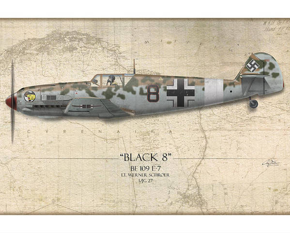 Aviation Poster featuring the painting Werner Schroer Messerschmitt Bf-109 - Map Background by Craig Tinder