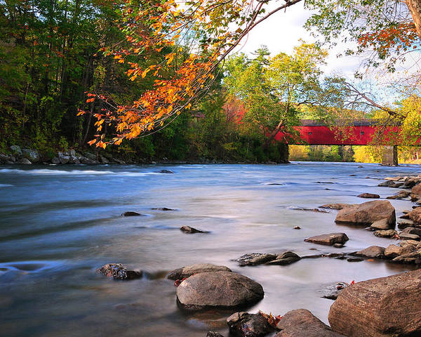 West Cornwall Poster featuring the photograph West Cornwall Covered Bridge- Autumn by Expressive Landscapes Fine Art Photography by Thom