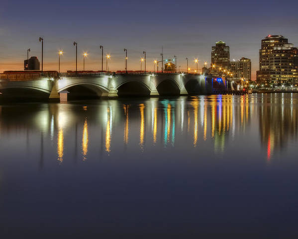 Clouds Poster featuring the photograph West Palm Beach At Night by Debra and Dave Vanderlaan