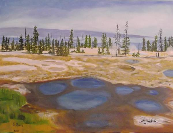 Yellowstone National Park Poster featuring the painting West Thumb Geyser Basin Yellowstone by Sally Jones
