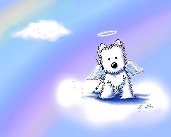 Westie Terrier Poster featuring the drawing Westie Angel At Rainbow Bridge by Kim Niles