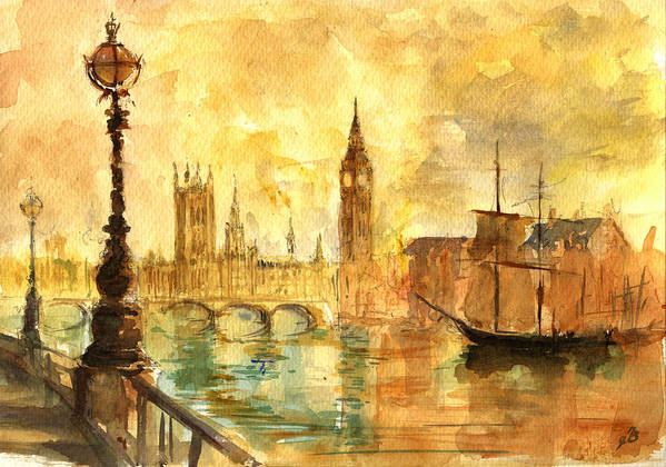 London Poster featuring the painting Westminster Palace London Thames by Juan Bosco