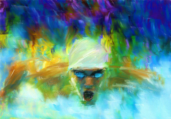 Swimming Poster featuring the digital art Wet And Wild by Lourry Legarde