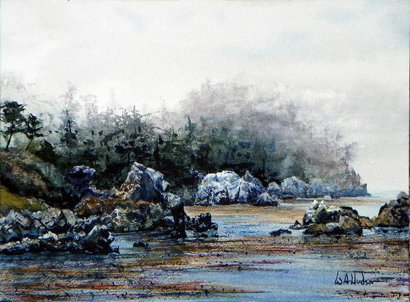 Landscape Poster featuring the painting Whalers Cove by Bill Hudson