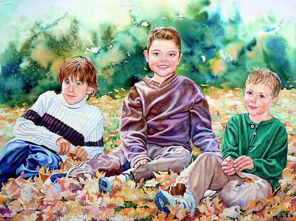 Children Action Portrait Poster featuring the painting What Leaf Fight by Hanne Lore Koehler