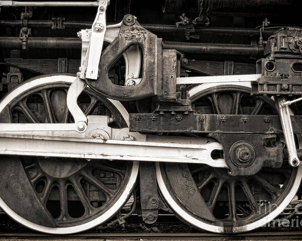 Steam Poster featuring the photograph Wheels And Rods by Olivier Le Queinec