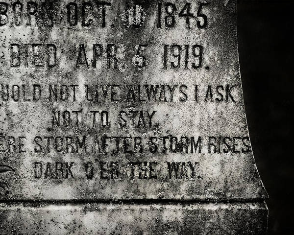 Gravestone Poster featuring the photograph Where Dark Storms Rise by Rebecca Sherman
