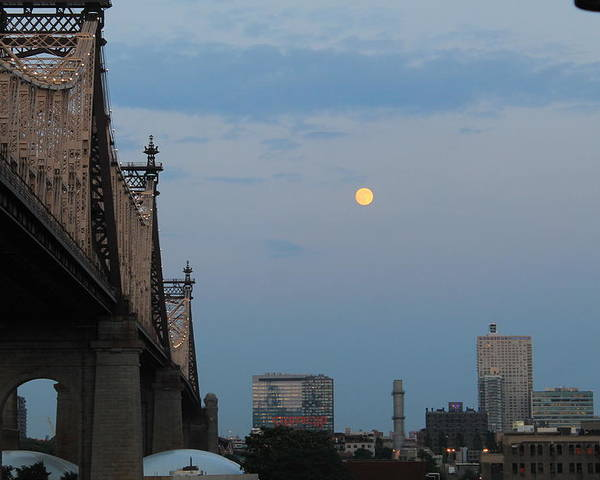 Queensboro Bridge Poster featuring the photograph Whispy Clouds And A Moon by Catie Canetti