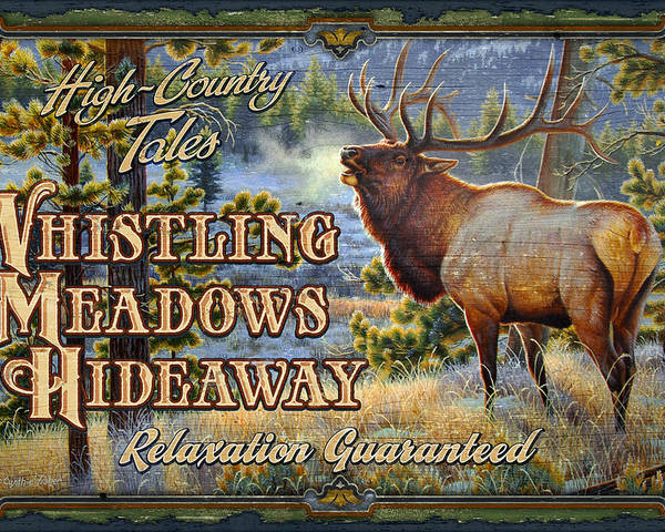 Cynthie Fisher Poster featuring the painting Whistling Meadows Elk by JQ Licensing