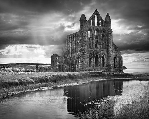 Mono Poster featuring the photograph Whitby Abbey by Ian Barber