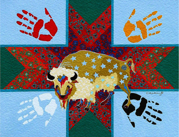 America Poster featuring the painting White Buffalo Calf Legend by Chholing Taha