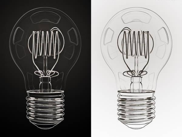 Bulb Poster featuring the digital art White Bulb Black Bulb by Scott Norris