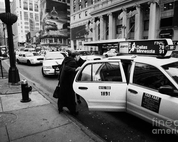 Usa Poster featuring the photograph white middle aged passengers exit from yellow cab rear door at taxi rank on 7th Avenue by Joe Fox