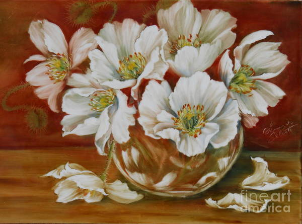 Poppies Poster featuring the painting White Poppies by Summer Celeste