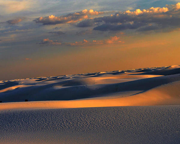 White Sand National Monument Poster featuring the photograph White Sands Sun Set by Danyele Skeels