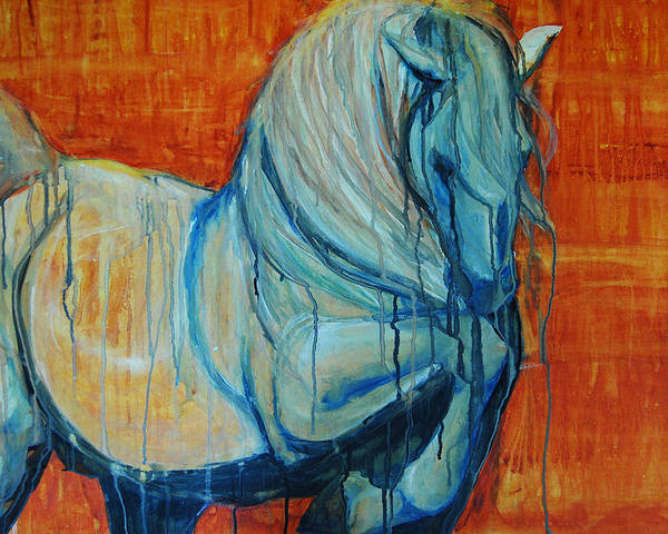 Horses Poster featuring the painting White Stallion by Jani Freimann