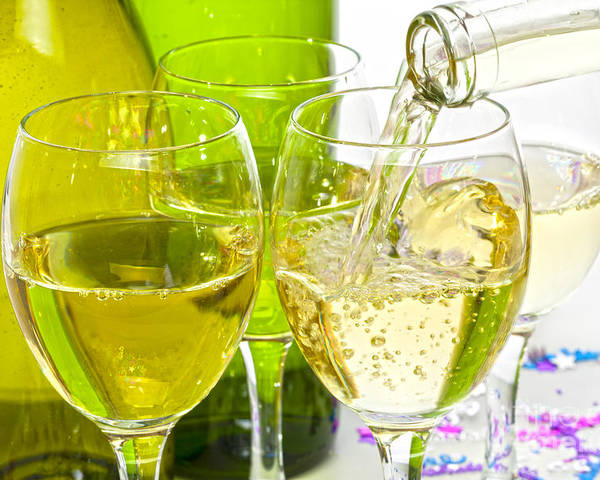 White Poster featuring the photograph White Wine Pouring Into Glasses by Colin and Linda McKie
