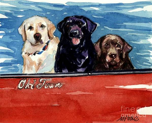 Labrador Retrievers Poster featuring the painting Whole Crew by Molly Poole