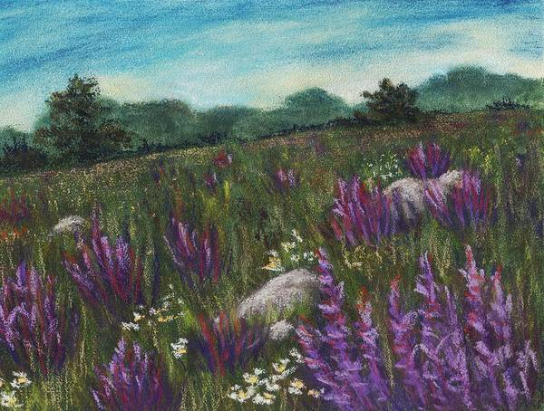 Calm Poster featuring the painting Wild Flower Field by Anastasiya Malakhova