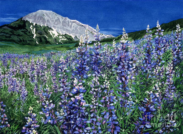 Summer Landscape Poster featuring the painting Wild Lupine by Barbara Jewell