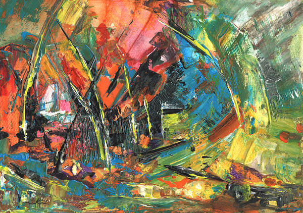 Abstract Poster featuring the painting Wild Regatta by Miki De Goodaboom