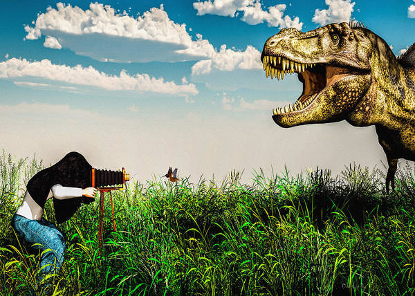 Dinosaur Poster featuring the digital art Wildlife Photographer by Bob Orsillo