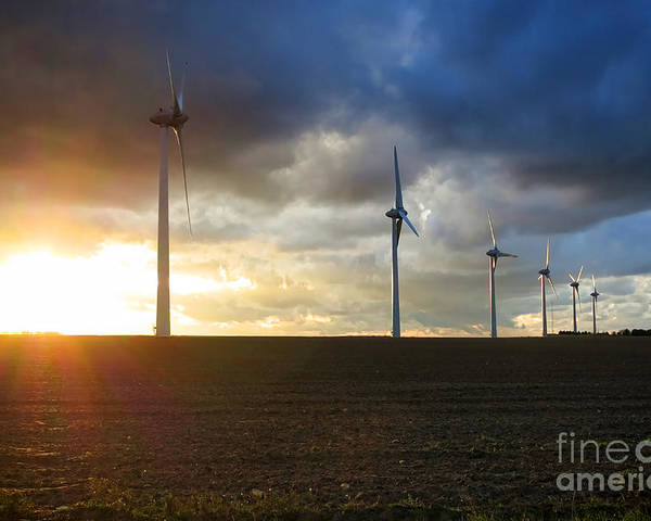 Windmill Poster featuring the photograph Wind And Sun by Olivier Le Queinec