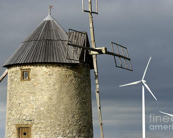 Sky Poster featuring the photograph Wind Turbines And Windfarm by Bernard Jaubert
