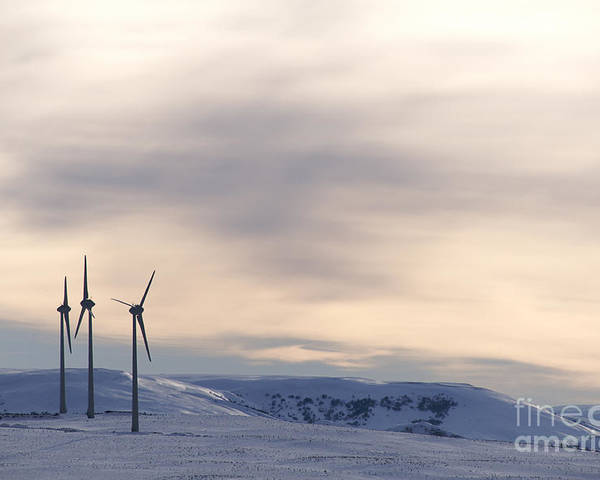 Propellers Poster featuring the photograph Wind Turbines In Winter by Bernard Jaubert