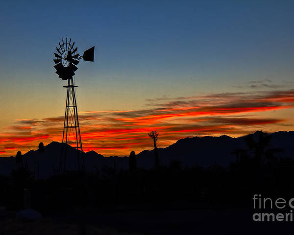 Desert Poster featuring the photograph Windmill Silhouette by Robert Bales