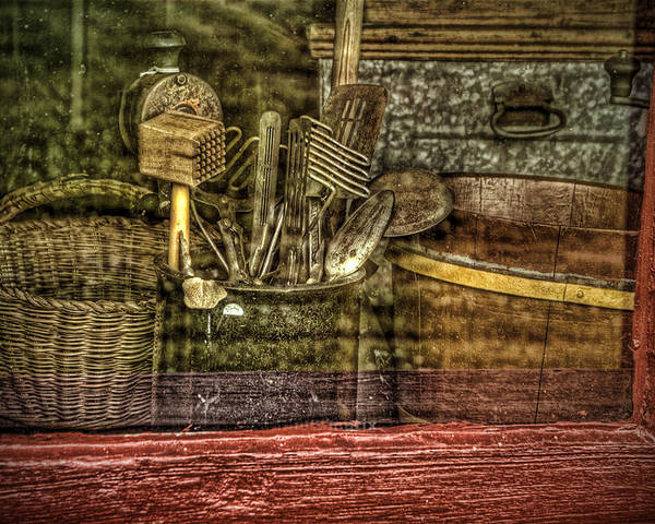 Vintage. Window. Kitchen Utensils. Vintage Kitchen Utensils. Wooden Baskets. Wooden Bowls. Metal Bread Box. Meat Grinder. Photography. Prints. Digital Art. Texture. Canvas. Poster. Greeting Card. Poster featuring the photograph Window Shopping by Mary Timman