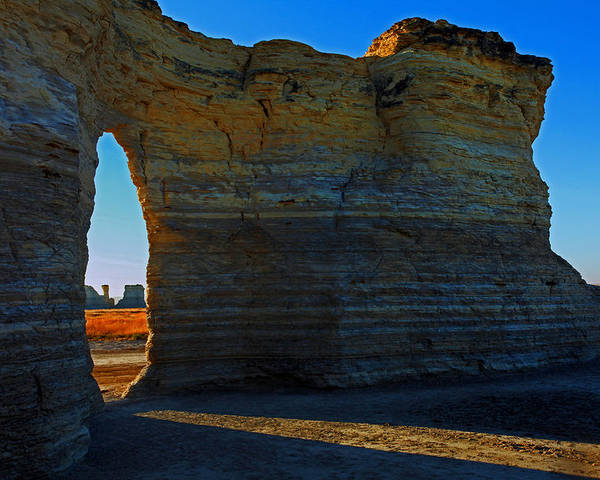 Monument Rocks Poster featuring the photograph Window To The Prairie by Mike Flynn