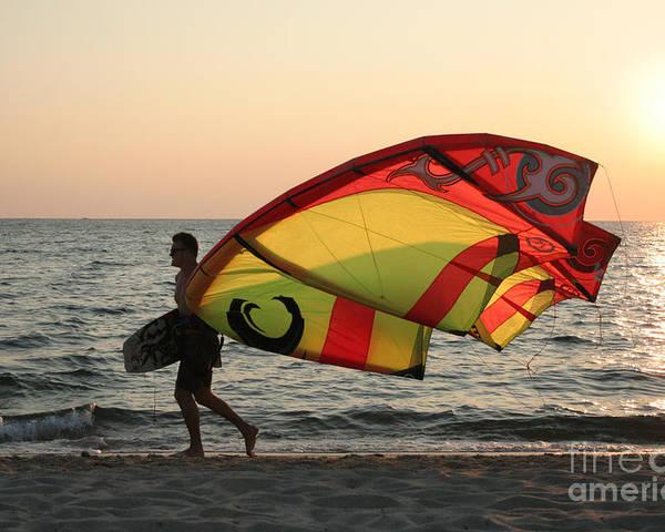Beach Poster featuring the photograph Windsurfer At Sunset by John Turek