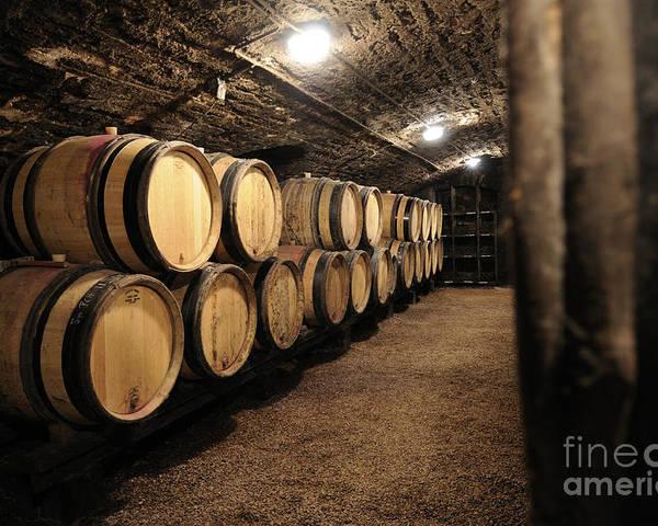 Barrel Poster featuring the photograph Wine Barrels In A Cellar. Cote D'or. Burgundy. France. Europe by Bernard Jaubert