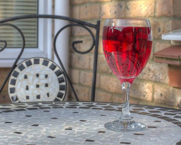 Alcohol Poster featuring the photograph Wine Glass On Table Al Fresco by Fizzy Image