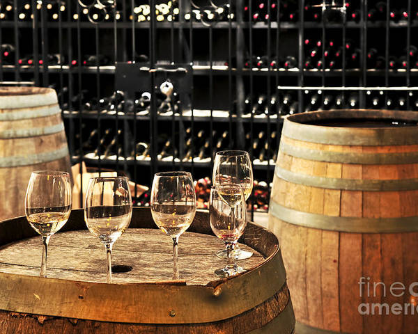 Wine Poster featuring the photograph Wine Glasses And Barrels by Elena Elisseeva