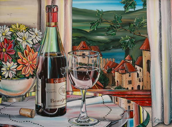 Landscape Poster featuring the painting Wine With River View by Anthony Mezza