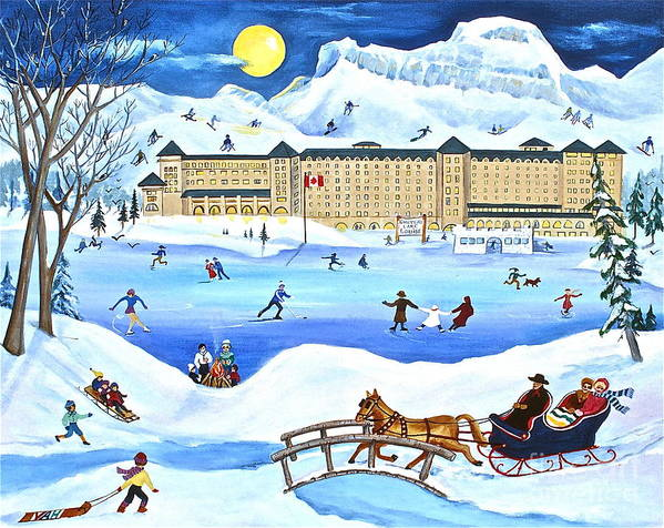 Ice Magic Poster featuring the painting Winter At Lake Louise Chateau by Virginia Ann Hemingson