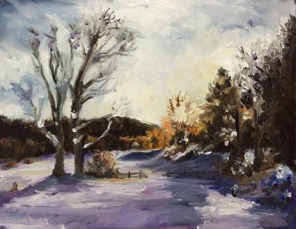 Vermont Poster featuring the painting Winter At The River House by Ladianne Henderson