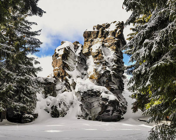 Sunny Poster featuring the photograph Winter At The Stony Summit by Aged Pixel