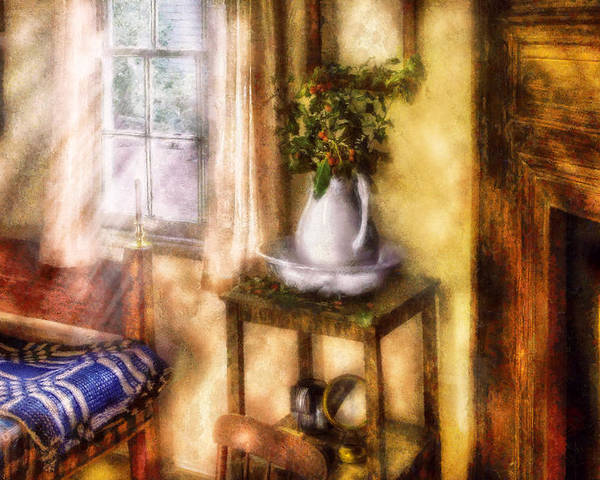 Savad Poster featuring the digital art Winter - Christmas - Early Christmas Morning by Mike Savad