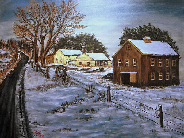 Landscape Poster featuring the painting Winter Home and Barn by Kenneth LePoidevin
