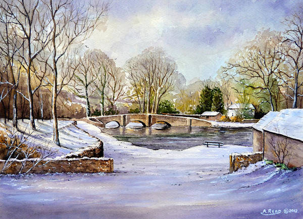 Water Color Poster featuring the painting Winter In Ashford by Andrew Read