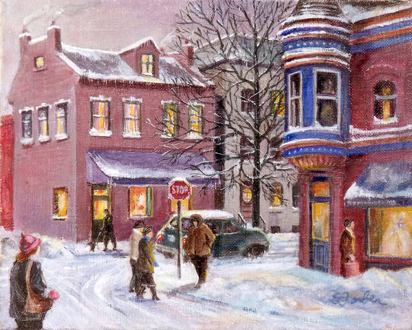 Streetscape Poster featuring the painting Winter In Soulard by Edward Farber
